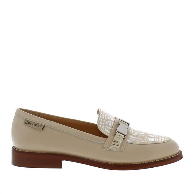 Carl Scarpa Louisa Beige Patent Leather Loafers